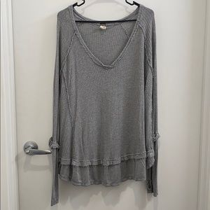 NWOT Free People Cozy Grey Blouse